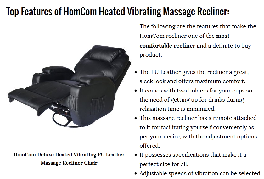 HomCom Deluxe Heated Vibrating PU Leather Massage Recliner Chair | Cuddly  Home Advisors