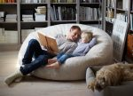 beanbag chair white sheepskin families comfort