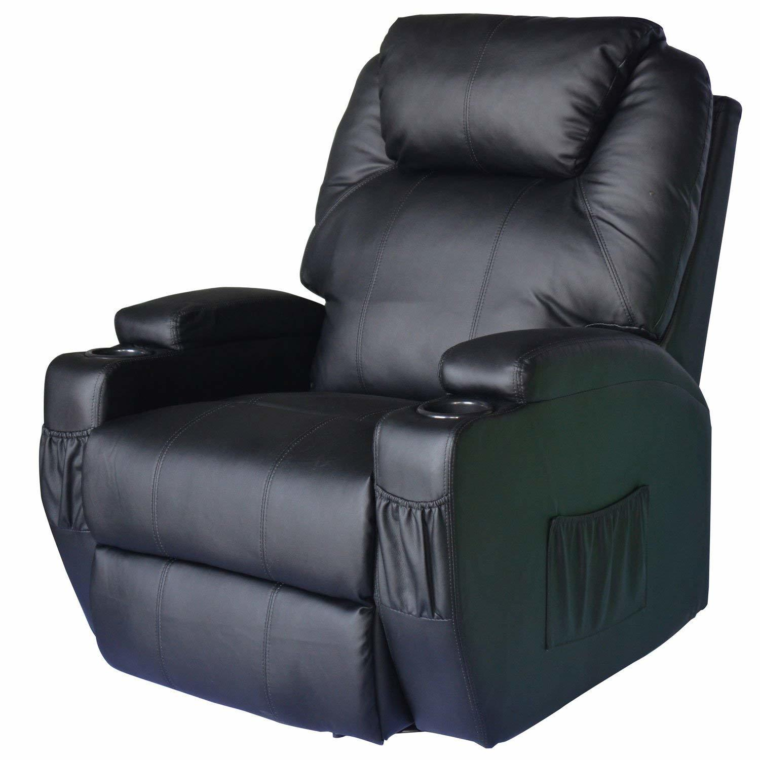 Homcom Pu Leather Heated Vibrating 360 Degree Swivel Mage Recliner Chair